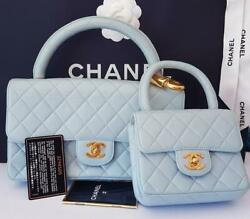CHANEL Kelly flap bag set Baby Blue Quilted Lambskin RARE Mother Daughter 2 in 1