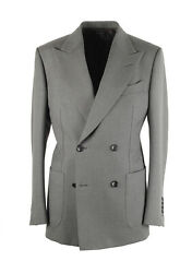 New Tom Ford Shelton Double Breasted Gray Sport Coat Size 46 / 36r In Wool Ja...