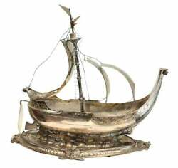 H.n. Hempsted Sterling Silver Silverplate And Brass Viking Ship Sculpture