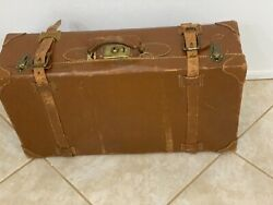 Vintage 40s WW2 Era Leather Suitcase -Working Locks -Lined -With Hand-Stitching