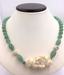 Carved Netsuke And Jade Bead Necklace 35 Length 119.6gr