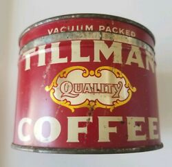 Rare Tillman Coffee Tin Container W/matching Lid - Rare Red Collectible Can