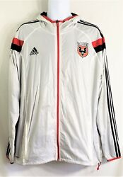 Men's Adidas Dc United Soccer White Zip Front Hooded Jacket Size Xl