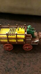 Vintage 1970s Cast Iron Odd Coca Cola Wagon Truck With Bottle Crates