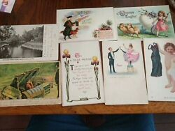 Seven 7assorted Antique Greetings Cards Easter, New Year's