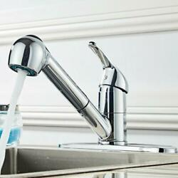 Kitchen Swivel Pull Out Spray Sink Single Handle Mixer Tap Faucet Polished Hole