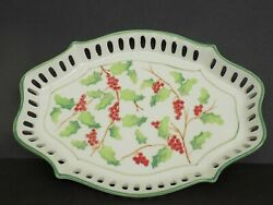 Andrea By Sadek Small Serving Dish--grapes And Leaves Pattern--unique Shape--10