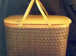 Vintage Picnic Basket By Burlington In Original Box With Dishes And Silverware