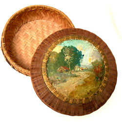 Antique Hand Made Tightly Woven Sewing Basket Hand Painted Country Scene