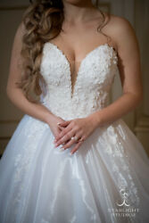 Berta One of A Kind Custom Designed Wedding Dress Ball Gown w. Cathedral Veil