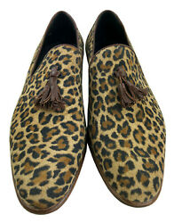 Giohel Custom Made In Italy Scarpe Uomo Sleeper Shoes Suede Leopard Brown 39-52