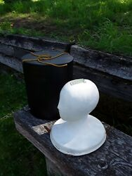 Vintage antique WIG HAT STAND MANNEQUIN lady HEAD w travel box leather snaps