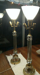 Vintage Late 1970and039s Crystal Colum And Milk Globes Large 33and039and039 Tall Set By Leviton
