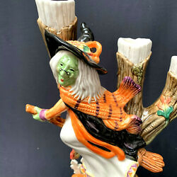 Vtg Fitz And Floyd Halloween Witch Candle Stick Halloween Harvest 68/535