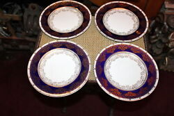 Antique Crown Ducal England Dinner Plates 4 Plates Blue Gold Patterns