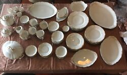 Theodore Haviland Limoges France White And Gold Trim Dishes 94 Pcs C1903