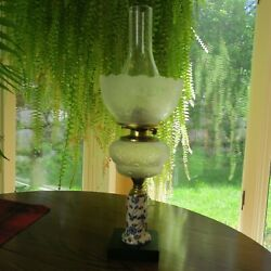 Oil Lamp Blue And White Porcelain Stem Shade Chimney Queen Anne Burner Compete