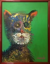 Original Dog Painting Dan Poole Terrier #1905 1990 Florida Artist