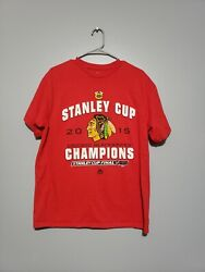Nhl Stanley Cup Finals Champion Trophy Red T-shirt 2015 Chicago Blackhawks Large