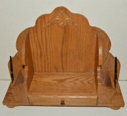 Vintage Custom Wooden Religious Church Bible Stand Guestbook Holder W/ Pens Rare