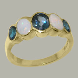 Solid 14k Yellow Gold Natural London Blue Topaz And Opal Womens Band Ring