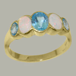 Solid 14k Yellow Gold Natural Blue Topaz And Opal Womens Band Ring - Sizes J To Z