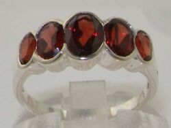 Solid 18k White Gold Natural Garnet Womens Band Ring - Sizes J To Z