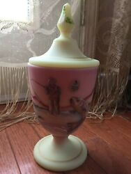 Fenton Fly Fiishing Custard Satin Glass Pedestal Covered Compote Candy Dish Sign