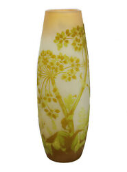 Tall Galle Light Green And Yellow Over Clear Art Glass Cameo Vase, 19th C