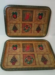 Vintage Tin Rectangle Serving Trays Christmas Theme 13 X 9 Gold Red Green