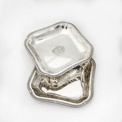 Square Serving Dishes Pair Sterling Silver London 1813