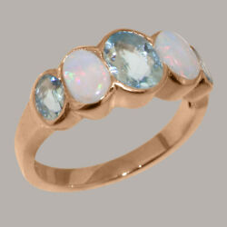Solid 14k Rose Gold Natural Aquamarine And Opal Womens Band Ring - Sizes J To Z