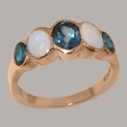 Solid 14k Rose Gold Natural London Blue Topaz And Opal Womens Band Ring