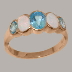 Solid 14k Rose Gold Natural Blue Topaz And Opal Womens Band Ring - Sizes J To Z