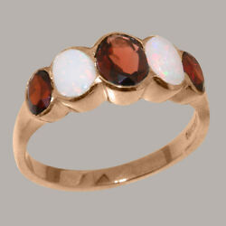 Solid 14k Rose Gold Natural Garnet And Opal Womens Band Ring - Sizes J To Z
