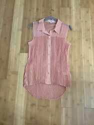 Papaya. Cute Button Down HighLow Pleated Loose Fit Top Sz. Large