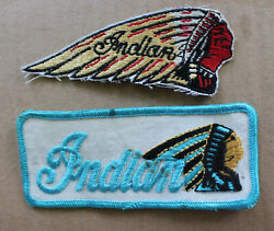 2 Vintage Indian Motorcycles Sew On Patches Motorcycle Patch Lot Chief Head