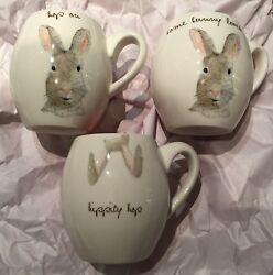3 New Rae Dunn Easter Bunny Mugs Hop On Some Bunny Loves Me Hippity Hop Pink