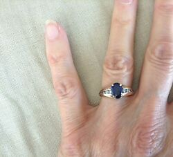 Vintage 14k Gold Oval Sapphire Ring Set With 10 Full-cut Diamonds 5.7g Sz 6.25