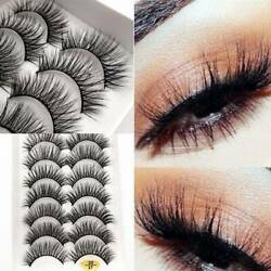 10 Pairs Thick False Eyelashes Black Smoke Makeup Terrier Cross Exaggerated