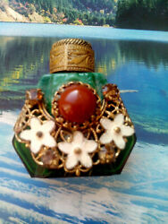 Antique Jeweled And Filigree Miniature Perfume Scent Bottle With Stirring Rod