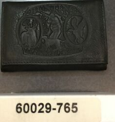 Hunting Hunter Embossed Black Leather Trifold Men's Wallet Gift Deer Dog Duck
