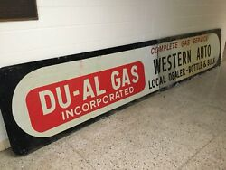 Original Western Auto Store Tin With Frame Sign 16 Foot Long Du-al Gas