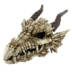 Large Myths And Legends Medieval Dragon Skull Fanged Garden Or Table Top Trophy