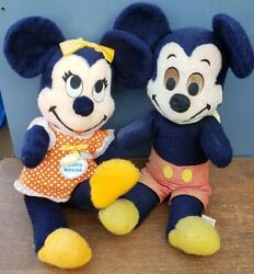 Antique 1940s 50s Mickey And Mini Mouse Plush Figure Doll Toy Vintage Disney Rare