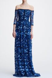 1095 New Marchesa Notte Off The Shoulder Floral Embroidered Gown Navy 2 4 10 12