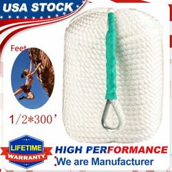 1/2 X 300 Nylon Anchor Rope Boat Rode Dockline Twisted 3 Strand With Ss Thimble