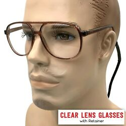 quot;Steve Urkelquot; Nerdy Oversized Clear Lens Key Hole Glasses Aviator Clear Lens $10.99