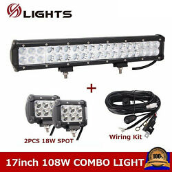 17inch 108w Led Light Bar Combo Offroad Suv 4wd +wiring Kit +2x 4 18w Pods Cube