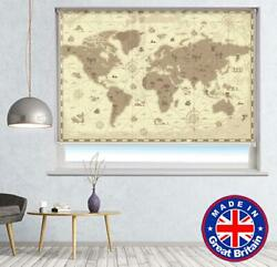 Retro Style Fantasy World Map Printed Picture Photo Roller Blind Blackout